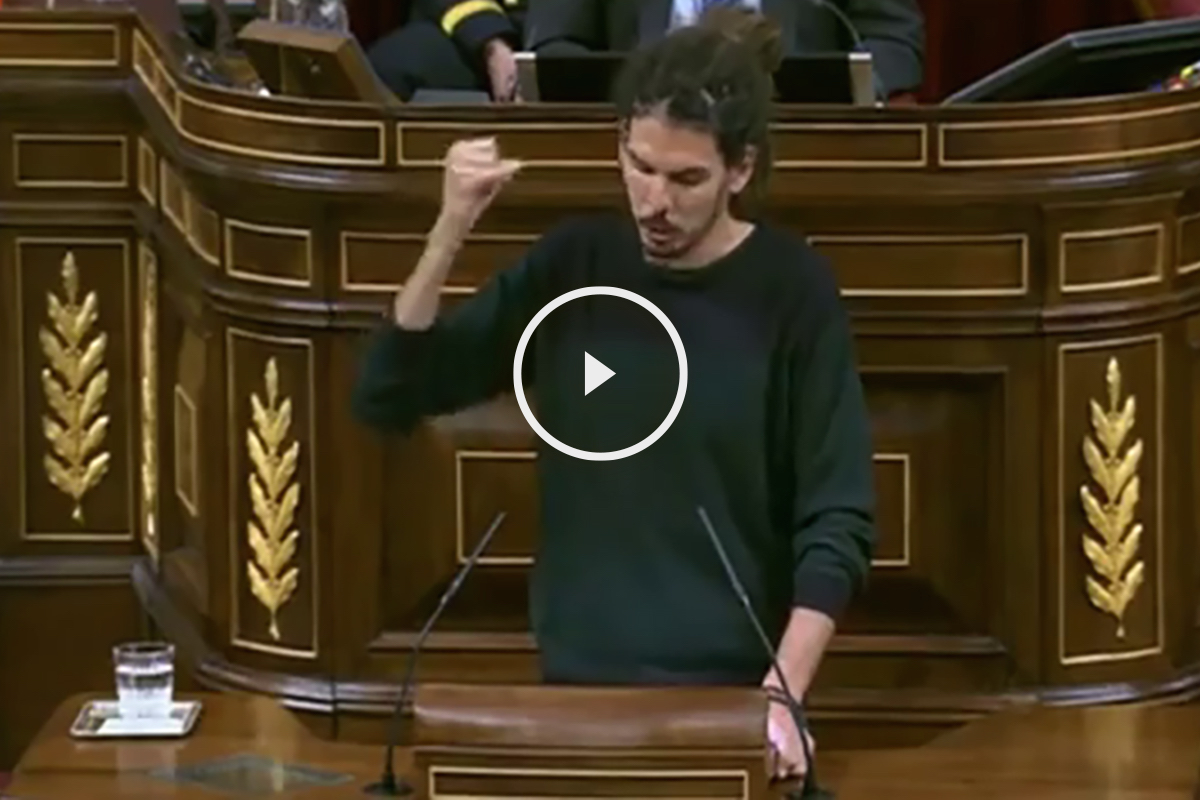 Alberto Rodríguez (Podemos), durante su intervención en el Congreso.