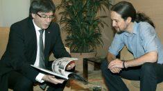Puigdemont e Iglesias en su reunión. (Foto: EFE)
