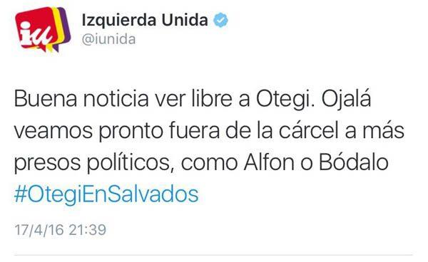Izquierda Unida se alinea con el etarra Otegi, Alfon y Bódalo en un mismo tweet