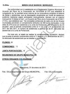Documento de cobro de dietas falsas firmado por Uxue Barkos