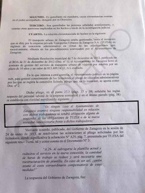 Belloch pagó con dinero público el ERE de la empresa privada que gestionaba los autobuses de Zaragoza