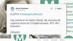 Llamada de Ahora Madrid Vicálvaro a boicorear un desalojo. (Foto: Twitter)