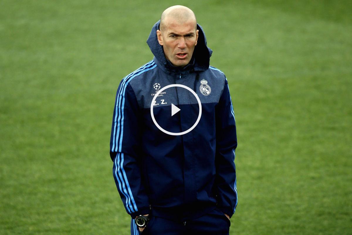 Zidane, en un entrenamiento de Champions. (EFE)