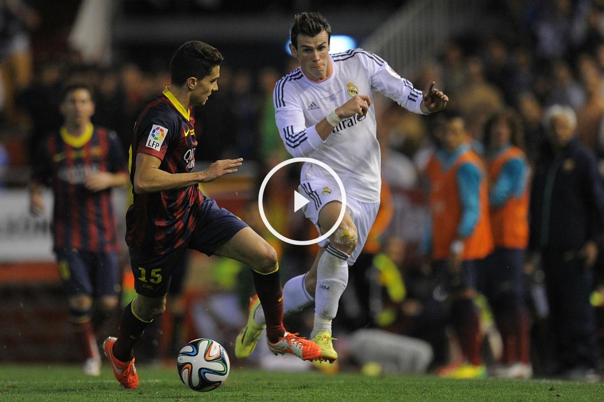 Bale 'reventó' a Bartra en la banda de Mestalla. (Getty)