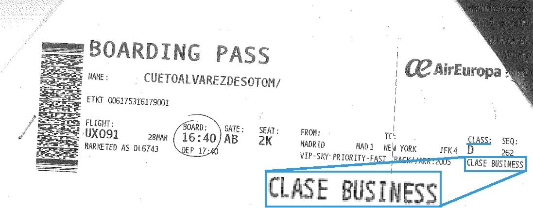 Billete de ida de Cueto en 'business' a EE.UU. (Clic para ampliar)