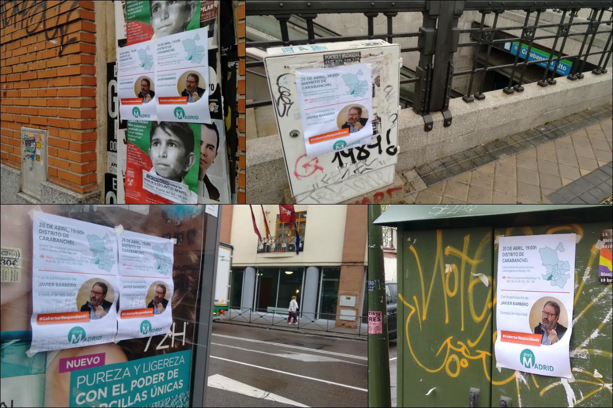 Los carteles de Ahora Madrid ensuciando el distrito de Carabanchel. (Fotos: OKDIARIO)