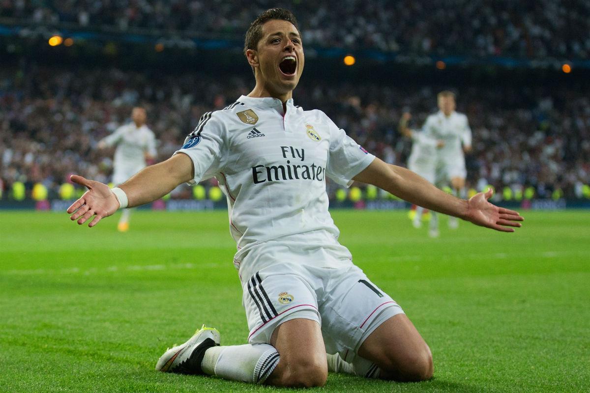 Chicharito celebra el gol que metió al Madrid en semifinales. (Getty)