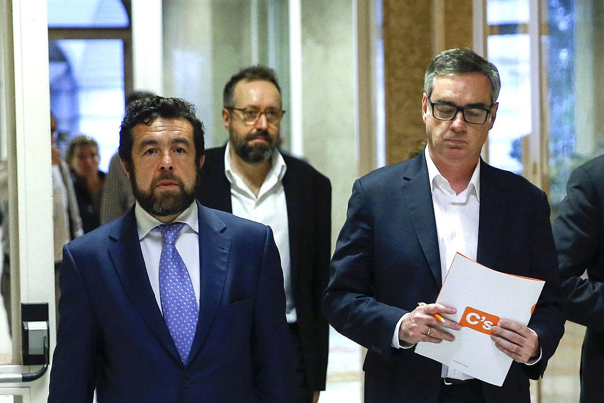 Gutiérrez, Girauta y Villegas en pasado jueves en el Congreso (Foto: Efe).