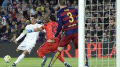 Cristiano Ronaldo marca el gol del triunfo del Real Madrid. (AFP)