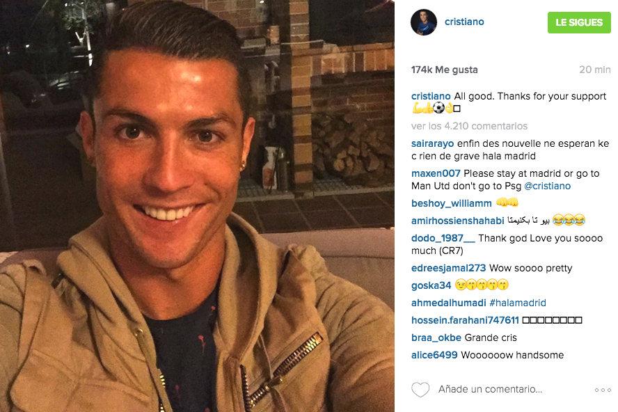 Cristiano Ronaldo tranquiliza a sus fans. (Instagram)