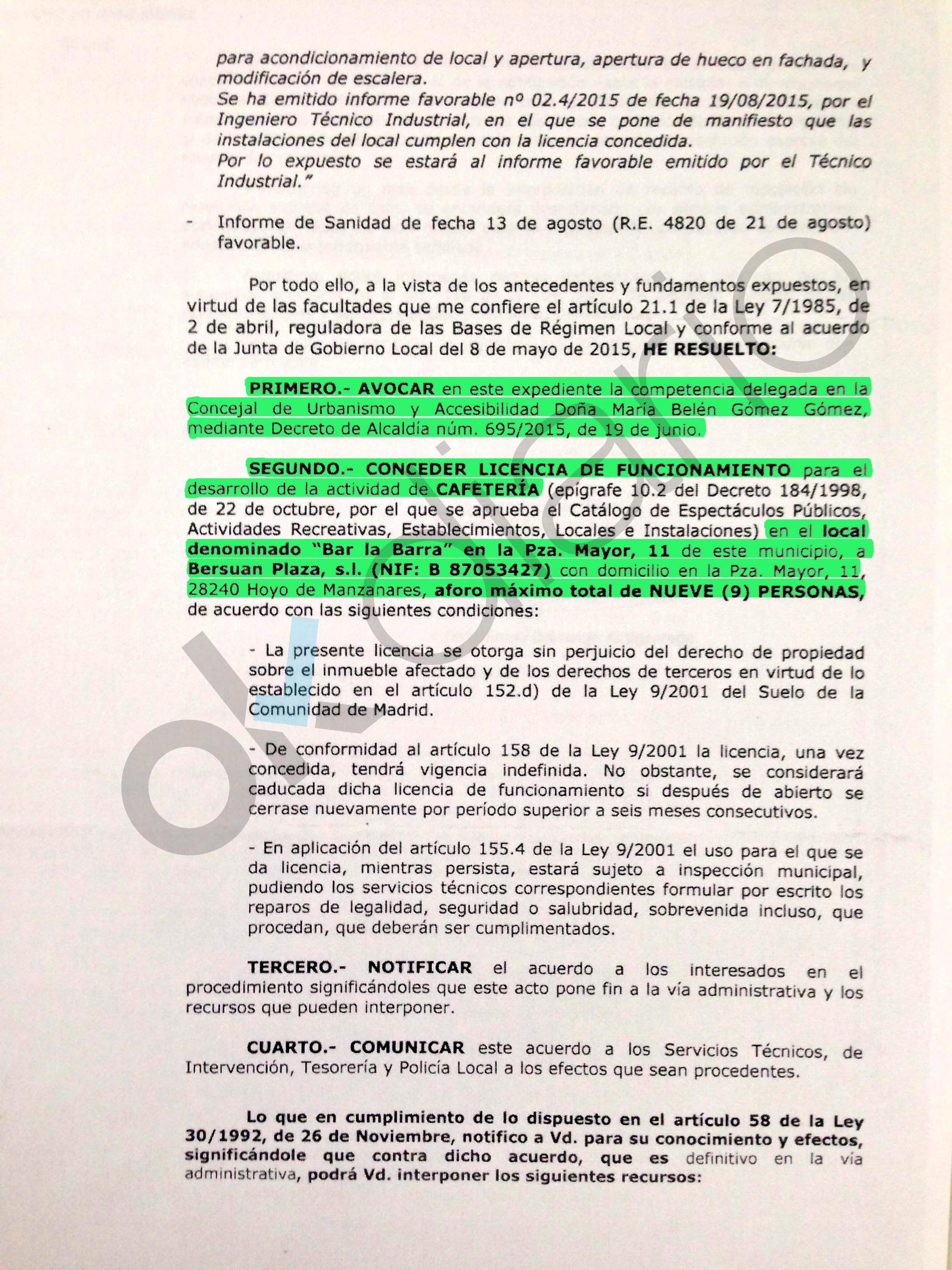 Cool Decreto Del Alcalde De Hoyo De Manzanares Para Conceder La Licencia De  Actividad Al Bar With Licencia De Apertura Madrid