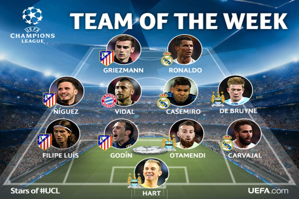 Este es el equipo de la semana de la Champions. (UEFA)