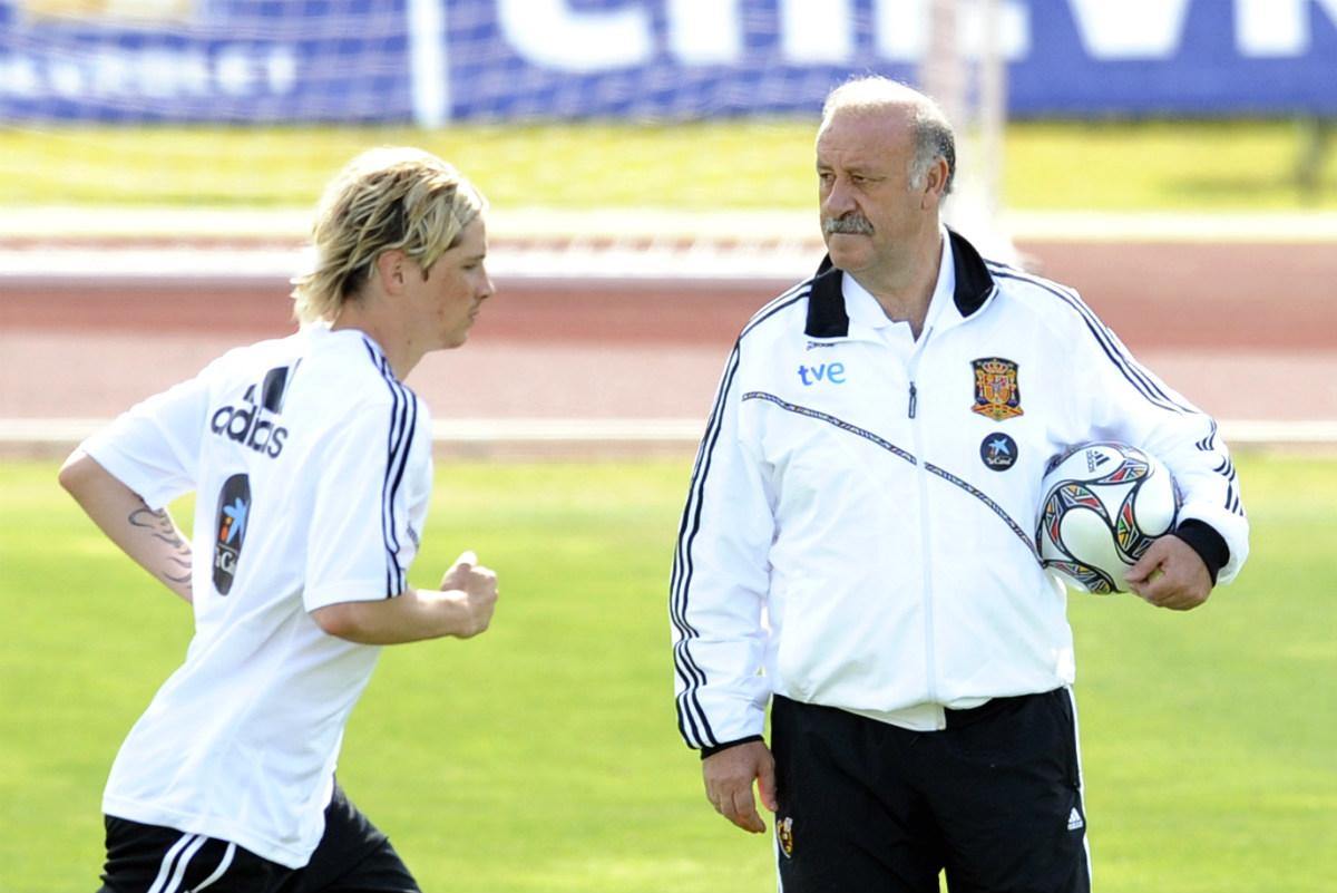 Del Bosque observa a Fernando Torres en un entrenamiento. (AFP)