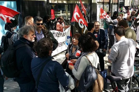 Protesta de trabajadores de HP
