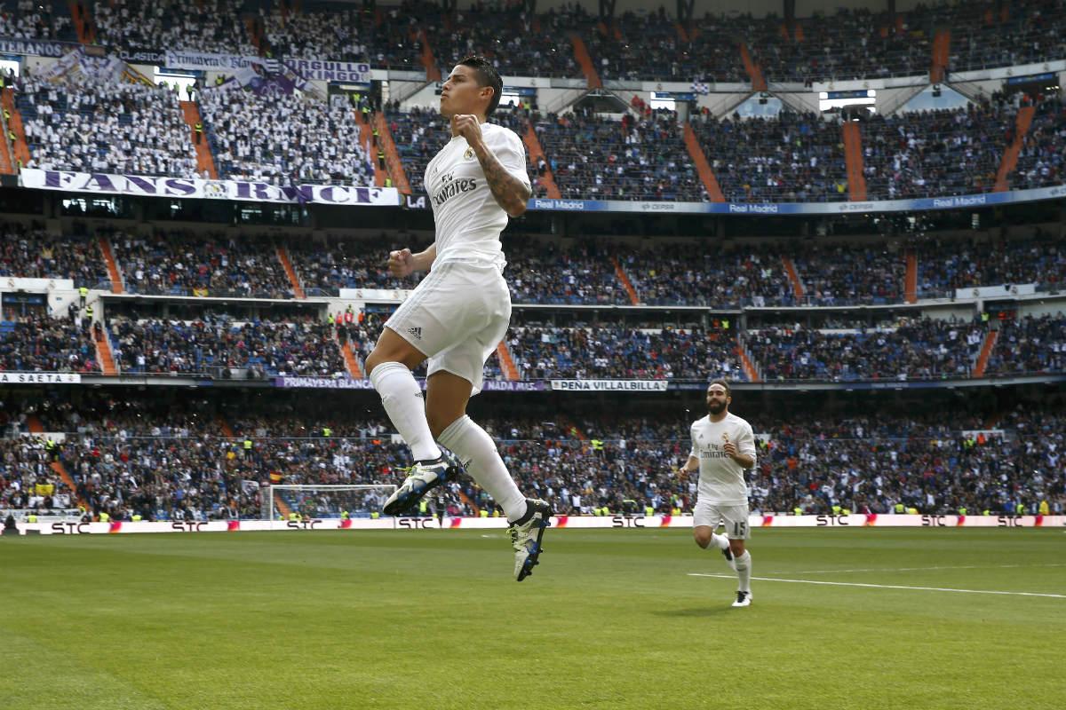 James celebra el 1-0 ante el Eibar. (Reuters)