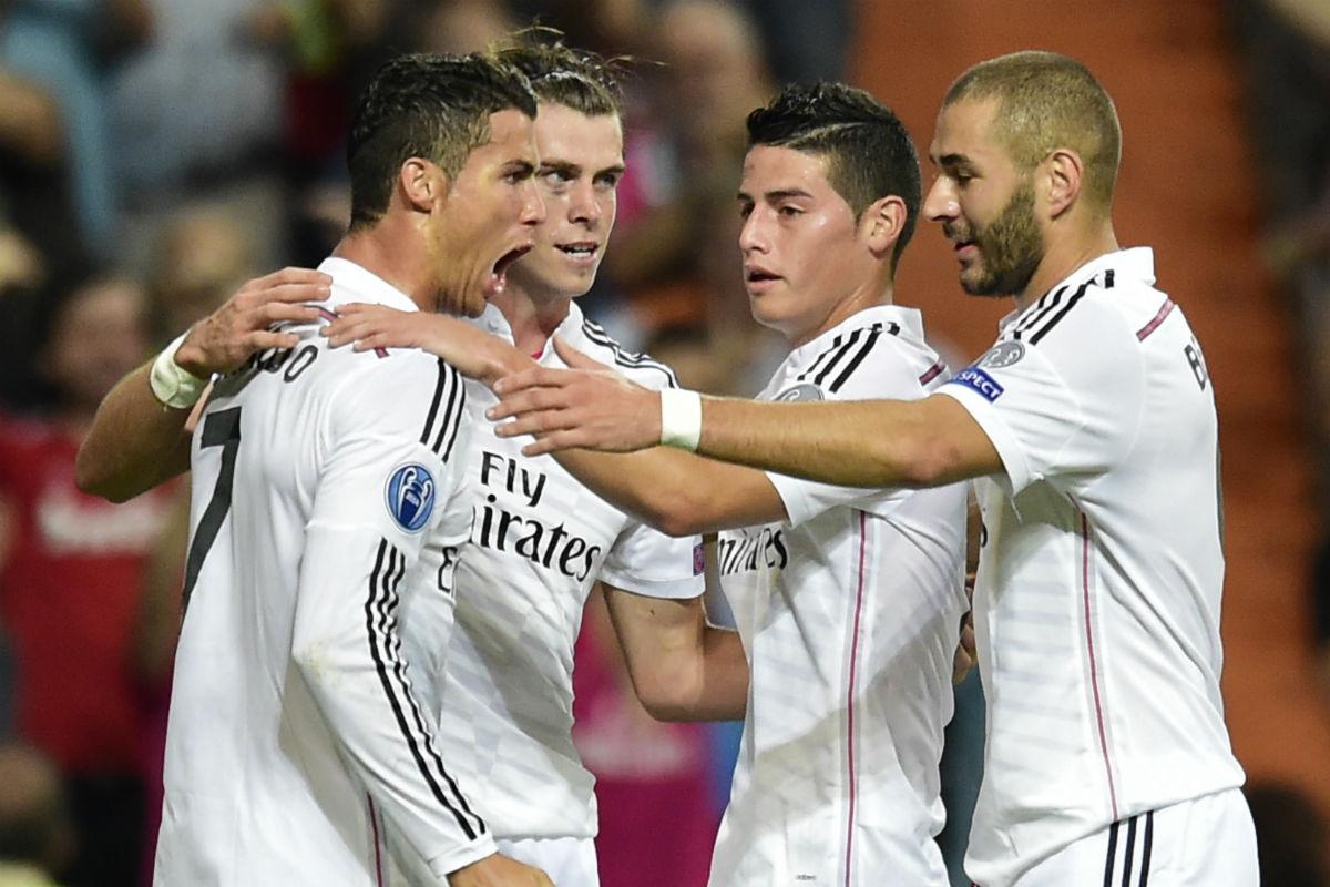 James Rodríguez celebra un gol con la BBC. (AFP)