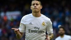 James Rodríguez celebra su gol al Eibar. (AFP)