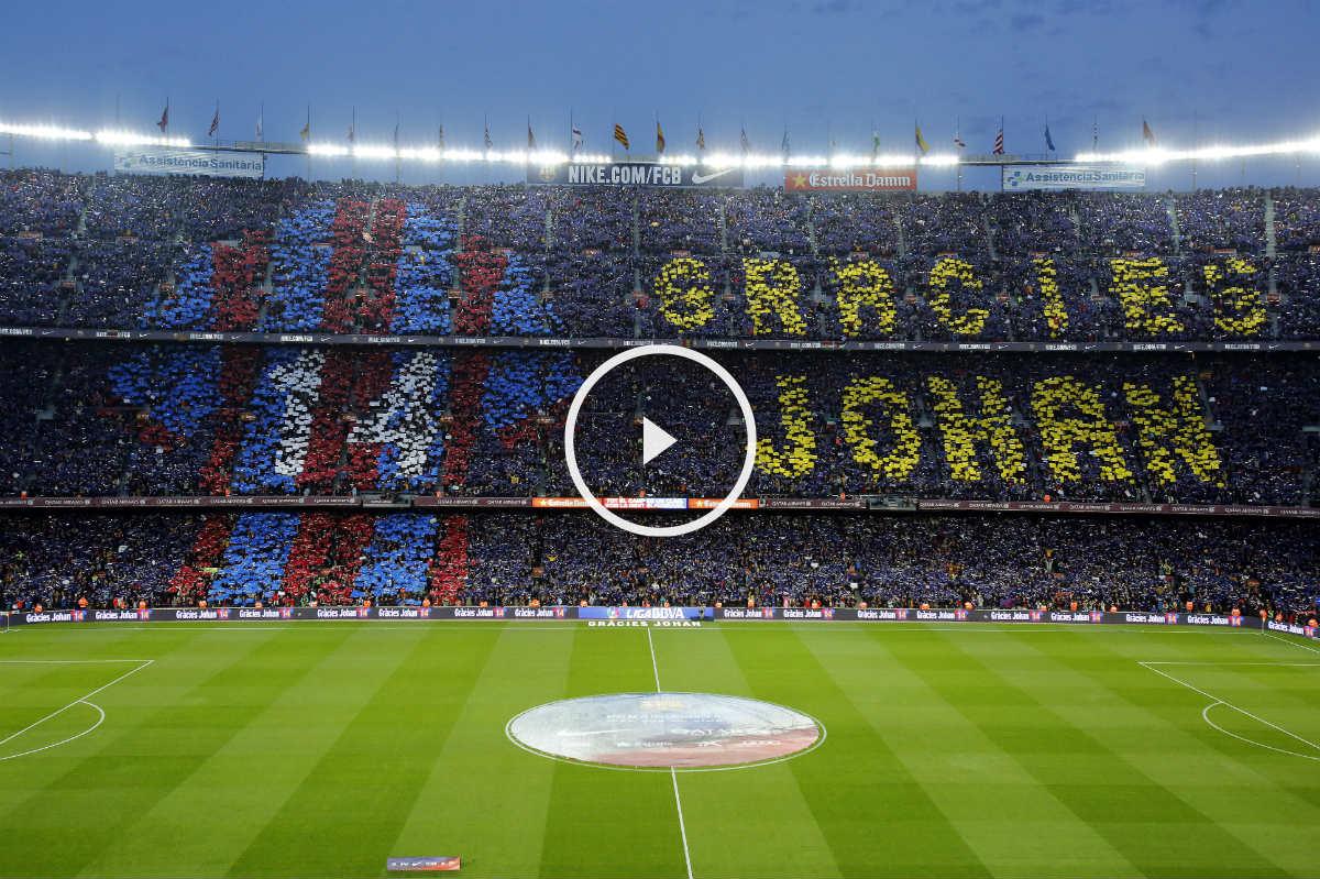 El Camp Nou homenajeó a Cruyff. (AFP)