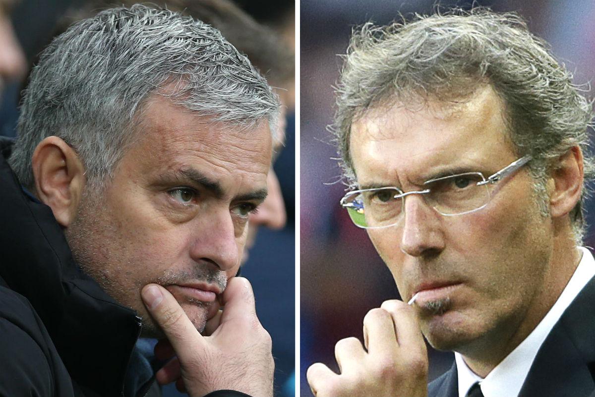 José Mourinho y Laurent Blanc. (AFP)