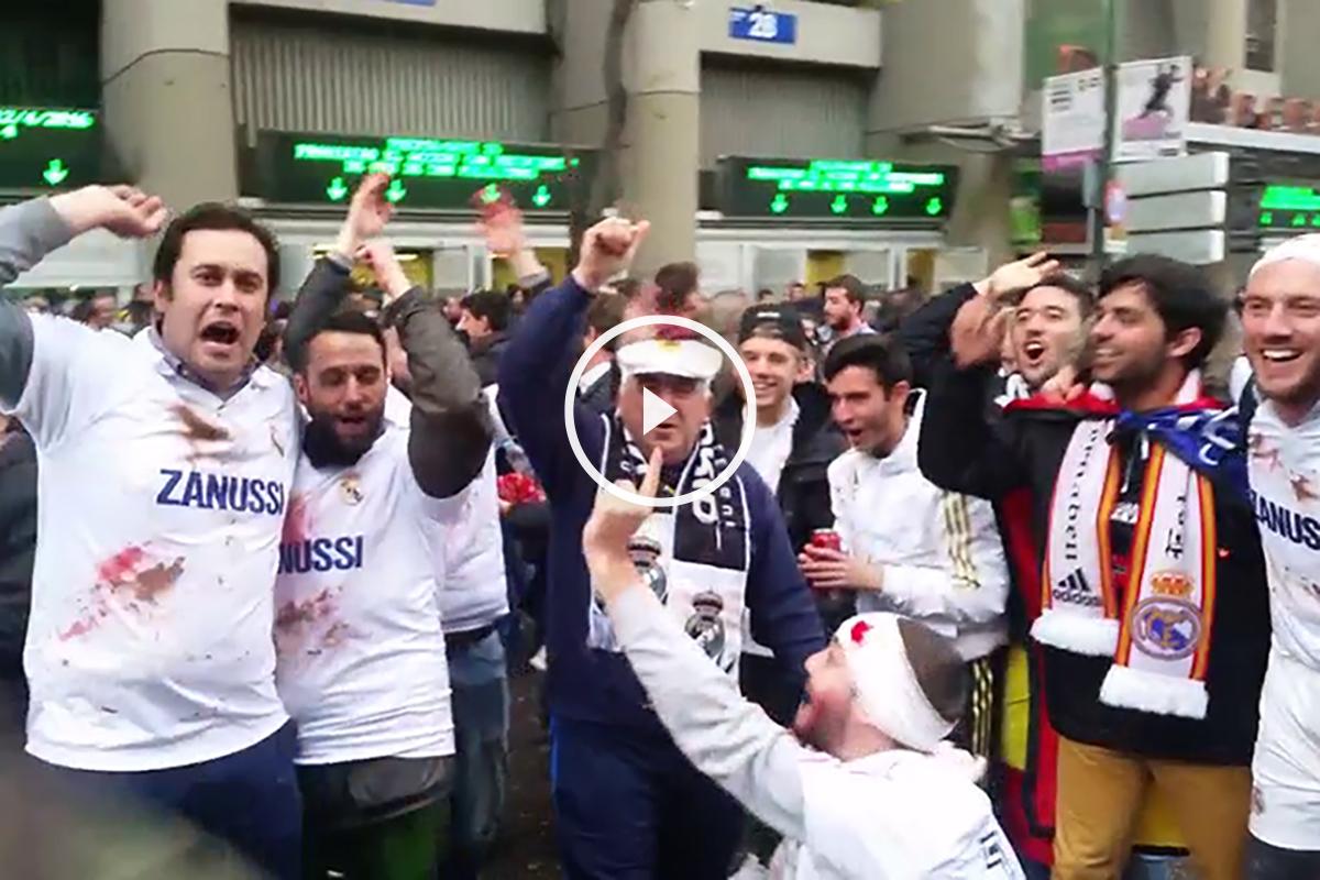 Aficionados del Real Madrid antes del partido contra el Wolfsburgo.
