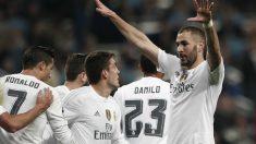 Karim Benzema celebra un gol en la Champions League. (Getty)
