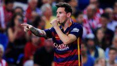 Leo Messi celebra un gol en el Vicente Calderón. (Getty)