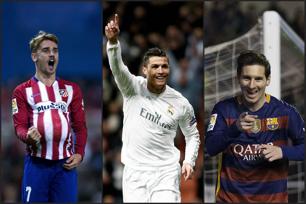 Cristiano, Messi y Griezmann lideran a sus equipos.