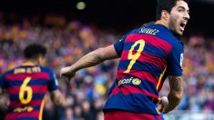 Luis Suárez celebra con rabia un gol. (Getty)