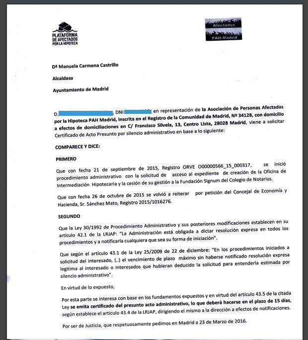 Extracto de la petición de información de PAH Madrid a Carmena. (Clic para ampliar)