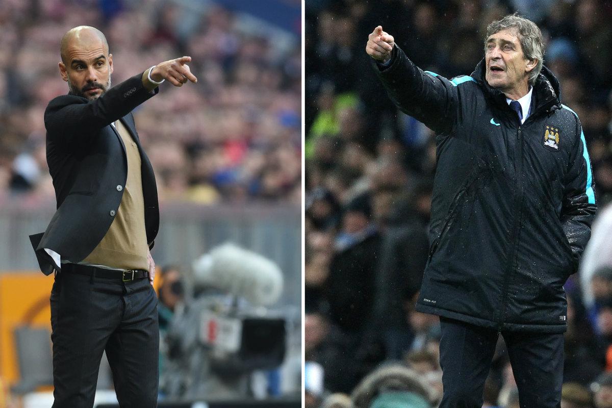 Guardiola y Pellegrini, técnicos del Bayern y del City. (AFP)