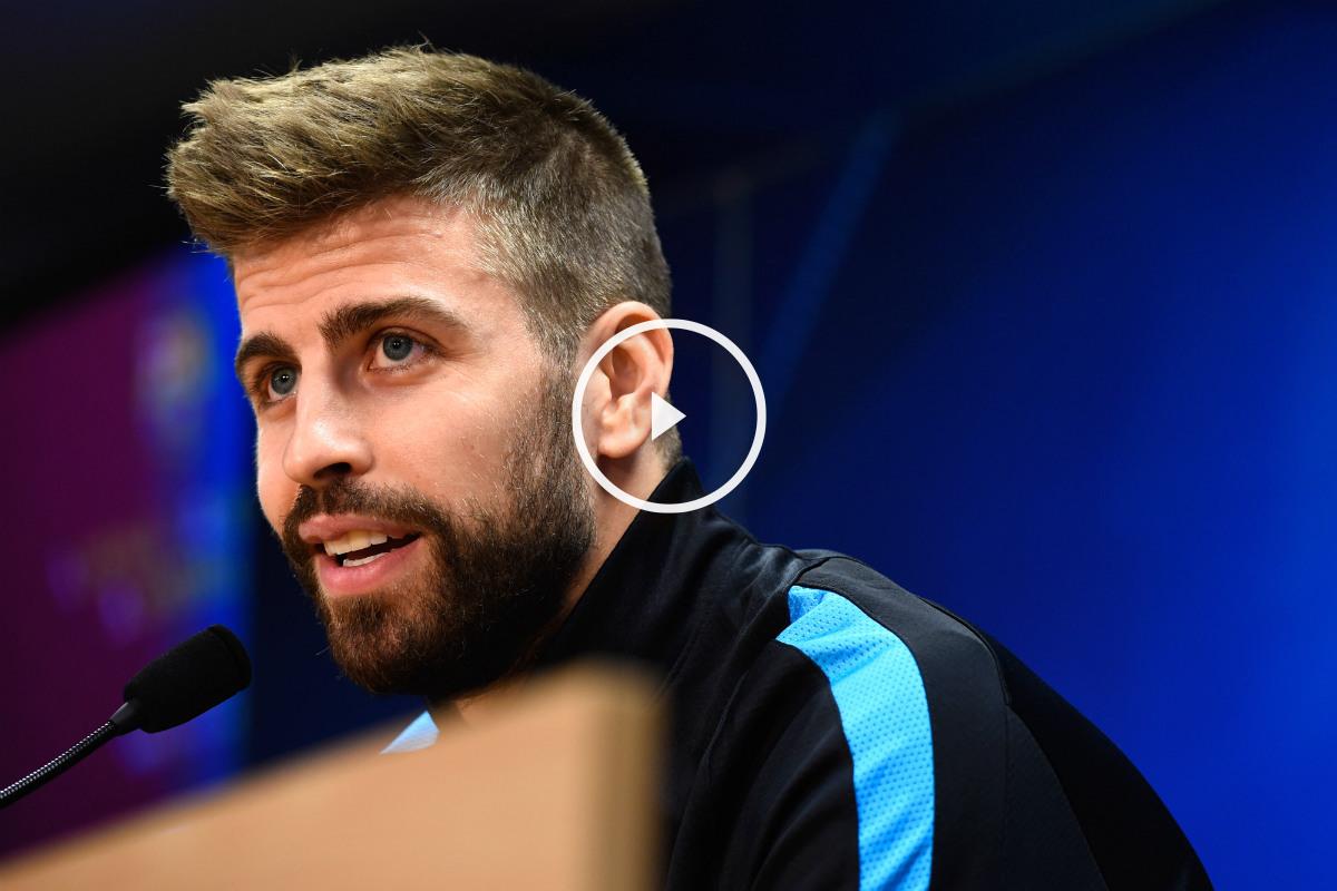 Piqué, en la rueda de prensa previa al Barça-Atleti. (Getty)