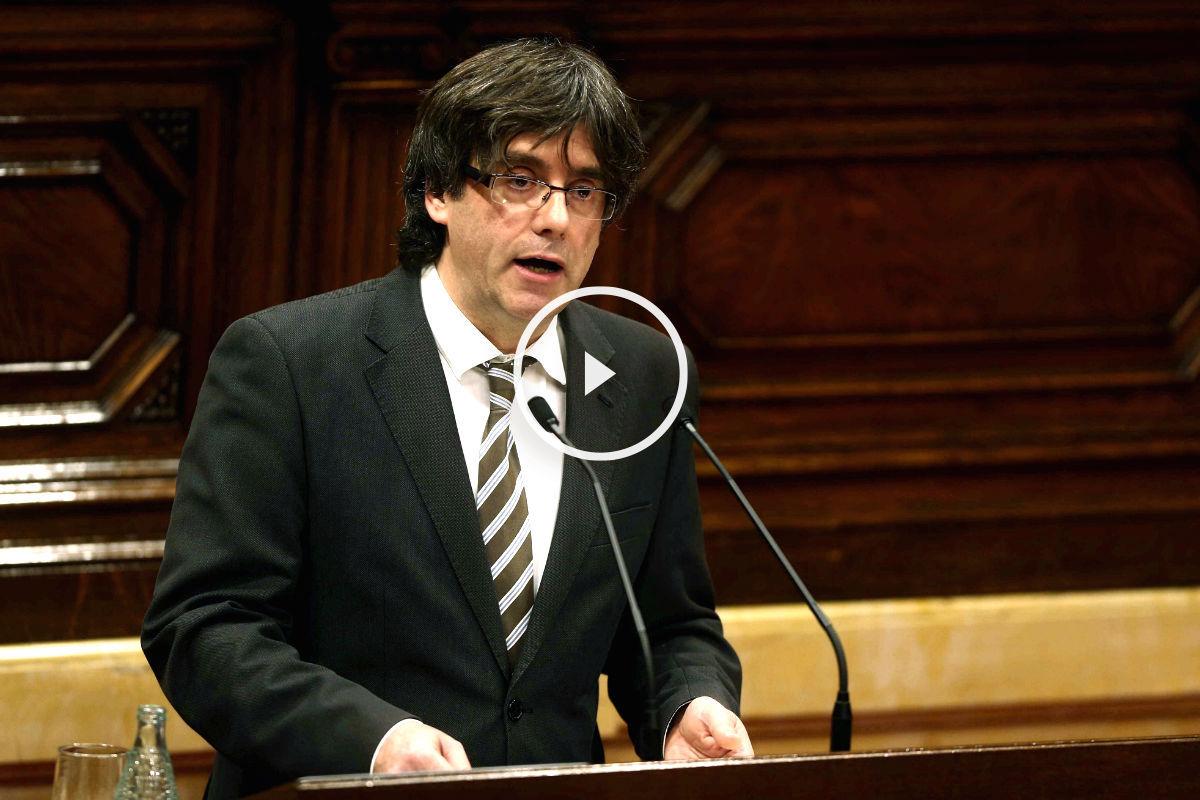 Carles Puigdemont durante su discurso (Foto: Efe).