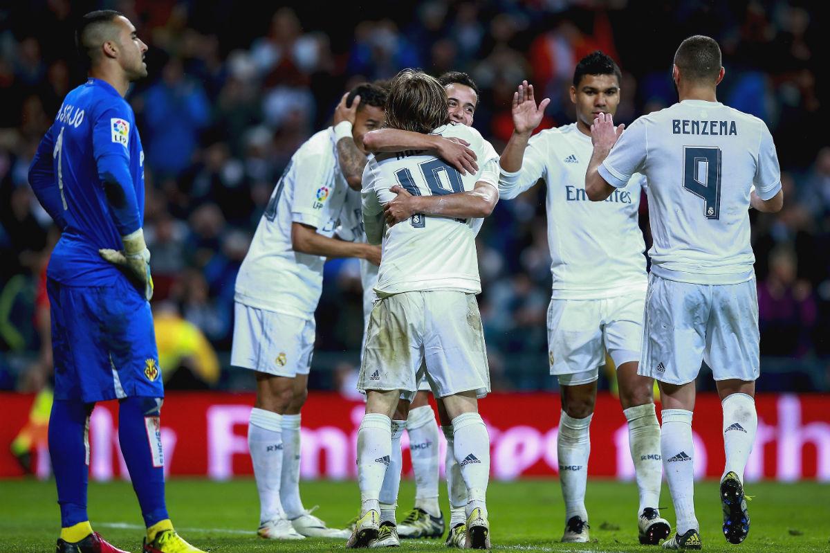 Los jugadores del Real Madrid celebran un gol ante el Villarreal. (Getty)