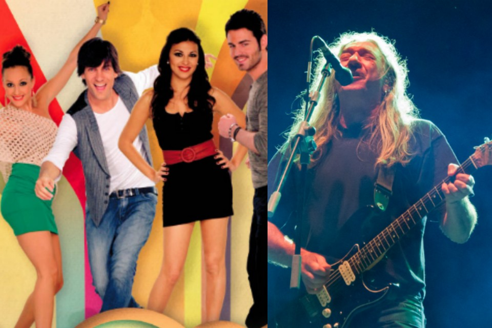 El grupo 'Los Supersingles' y el rockero Rosendo.