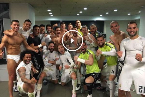 El vestuario del Real Madrid festejó el triunfo.
