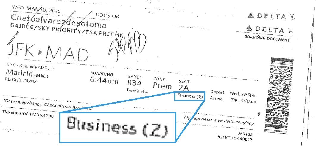 Billete de vuelta de Cueto en 'business' a EE.UU. (Clic para ampliar)