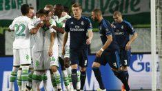 Los jugadores del Wolfsburgo celebran un gol ante el Madrid. (Getty)