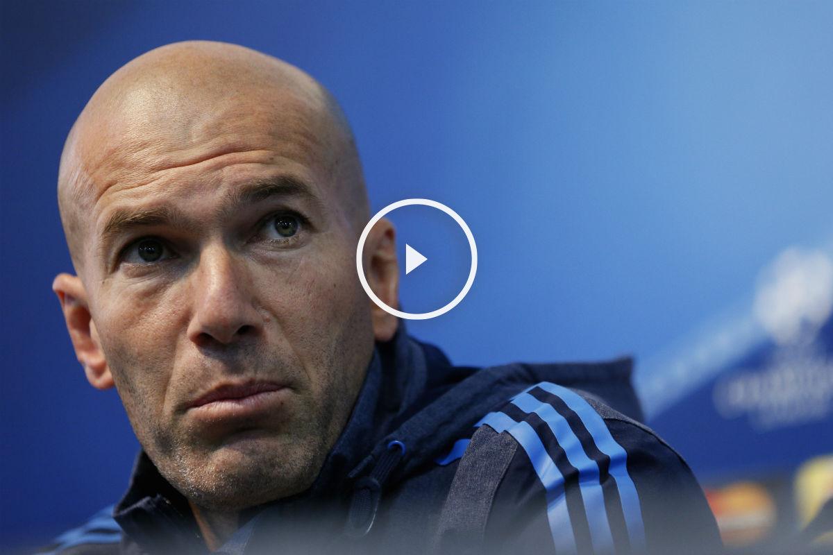 Zidane, en la sala de prensa del Etihad. (Getty)