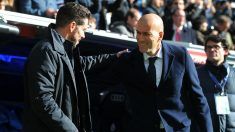 Zidane y Simeone se saludan antes del derbi. (Getty)