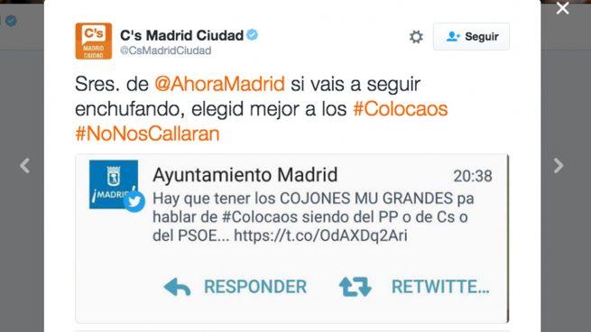 El Ayuntamiento de Madrid se pone chulo con PP, PSOE y C's en Twitter: «Hay que tener los cojones mu grandes pa hablar de #colocaos»