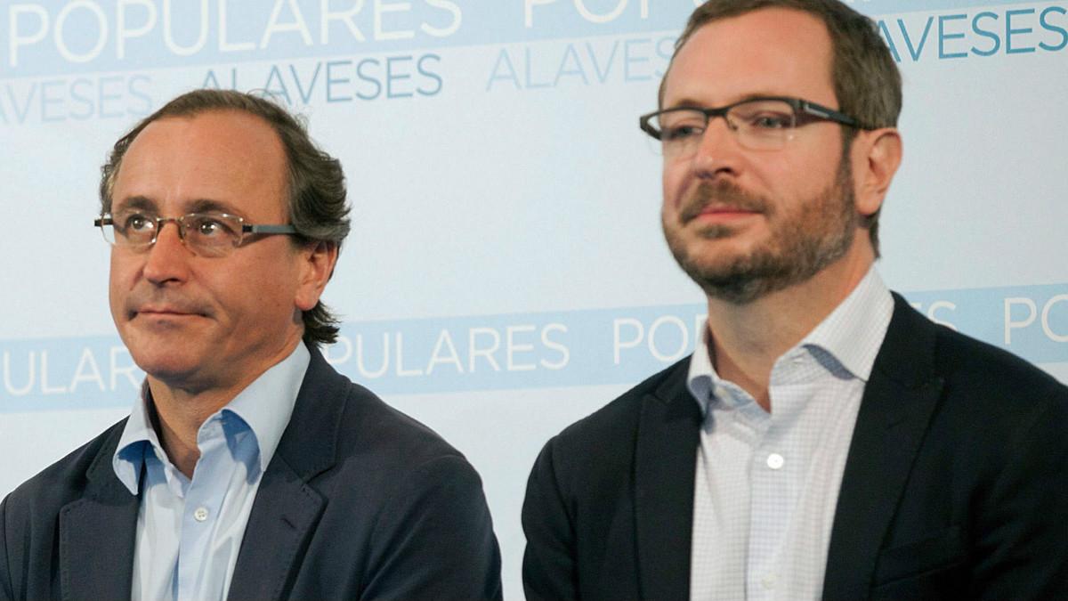 Alfonso Alonso, líder del PP vasco, y Javier Maroto, vicesecretario de Sectorial del PP. (Foto: EFE)