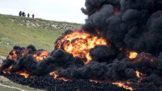 Imagen del incendio en el vertedero de neumáticos de Seseña (Foto: Efe).