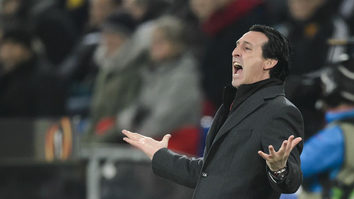 Unai Emery, en un partido del Sevilla. (AFP)