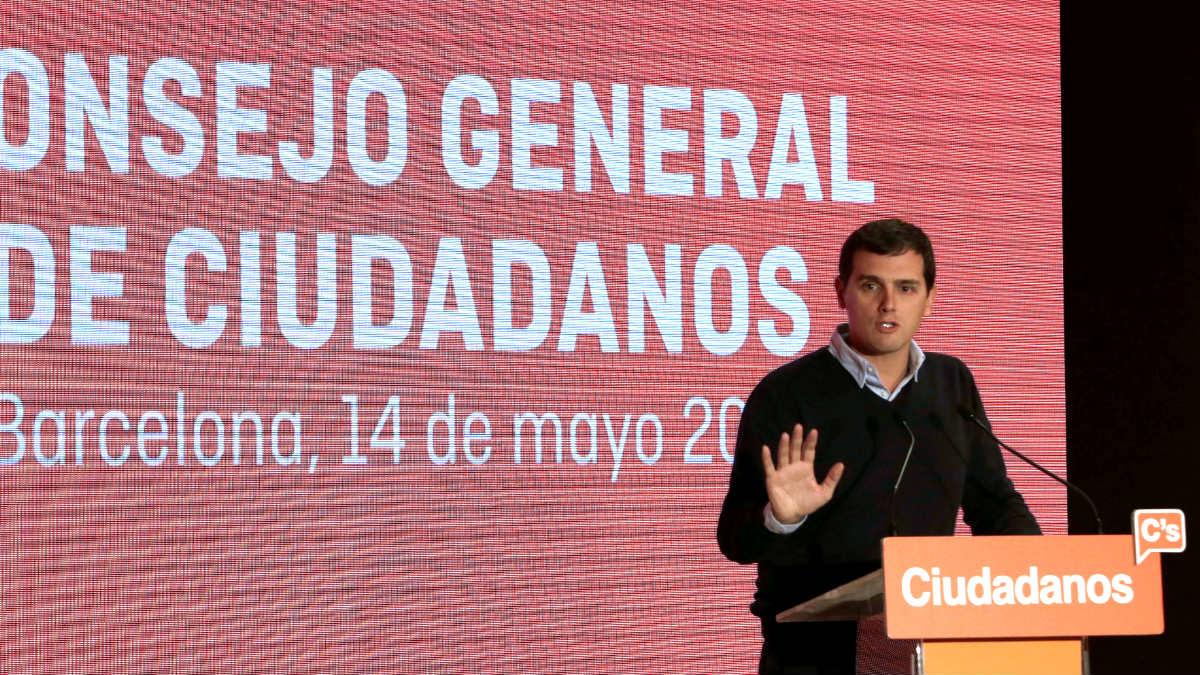 Albert Rivera en el acto de Ciudadanos este sábado en Barcelona (Foto: Efe).