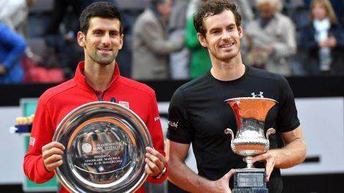 Murray ganó a Djokovic en dos sets (3-6, 3-6) en la final de Roma. (AFP)