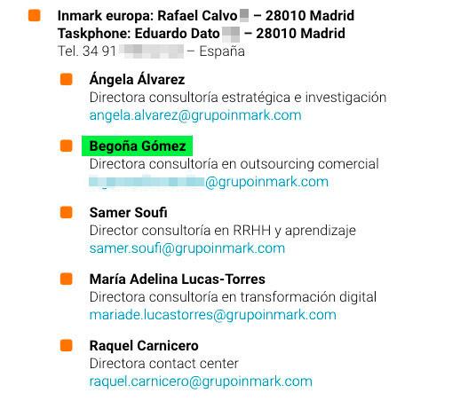 Begoña Gómez es actualmente socia y directora de consultoría comercial de Inmark Europa.