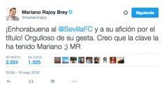 Rajoy felicitó al Sevilla con broma incluida.
