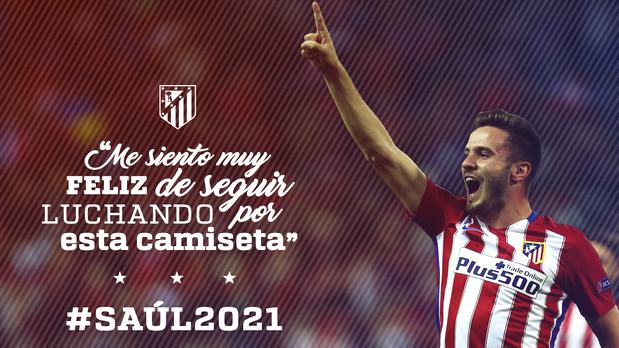 Saúl, feliz, tras haber renovado con el Atlético.