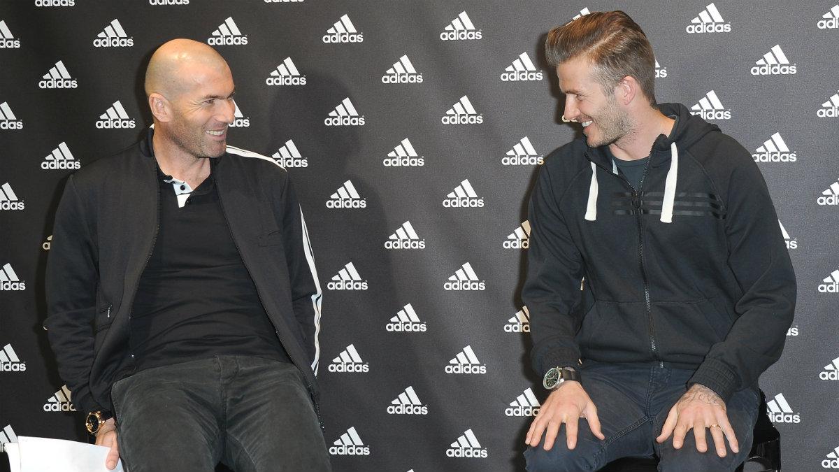 Zidane, junto a Beckham en un acto de Adidas. (Getty)