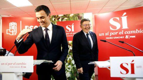 El secretario general del PSOE, Pedro Sánchez, junto a Ximo Puig (Foto: EFE)